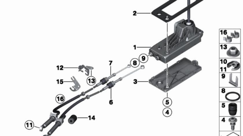 Timonerie schimbator viteze cutie viteza manuala Mini Cooper (poz.6+7) BMW OE 25117594647+25112753893