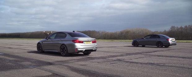 Toata lumea astepta cursa asta. Liniuta intre BMW M5 si Mercedes E63 AMG S