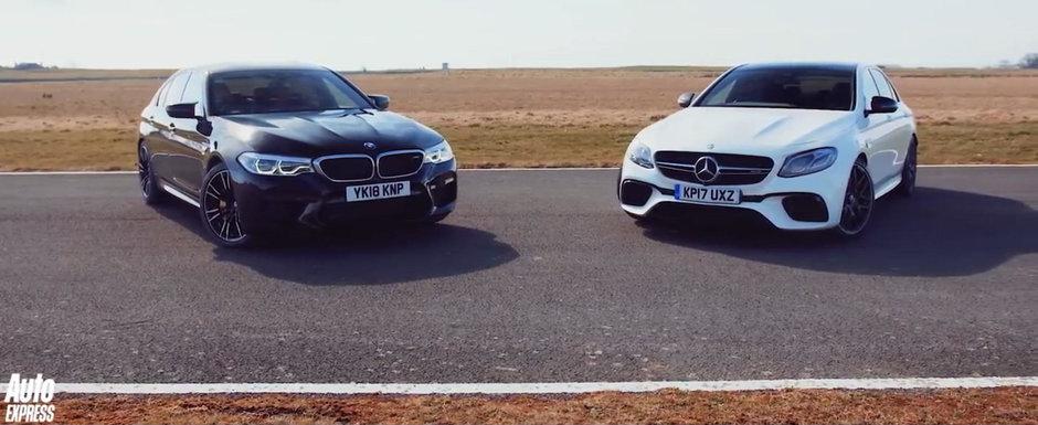Toata lumea astepta sa vada duelul asta: noile BMW M5 si Mercedes E63 AMG S se intrec pe circuit!