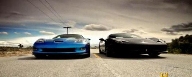 Top Gear America pun fata in fata Corvette ZR1 cu Ferrari 458 Italia
