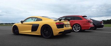 Trei dintre cele mai rapide Audi-uri se iau la intrecere. Ghici cine castiga