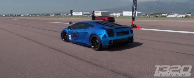 Trei Lamborghini-uri de cate 2000 CP fiecare isi fac de cap pista de drag
