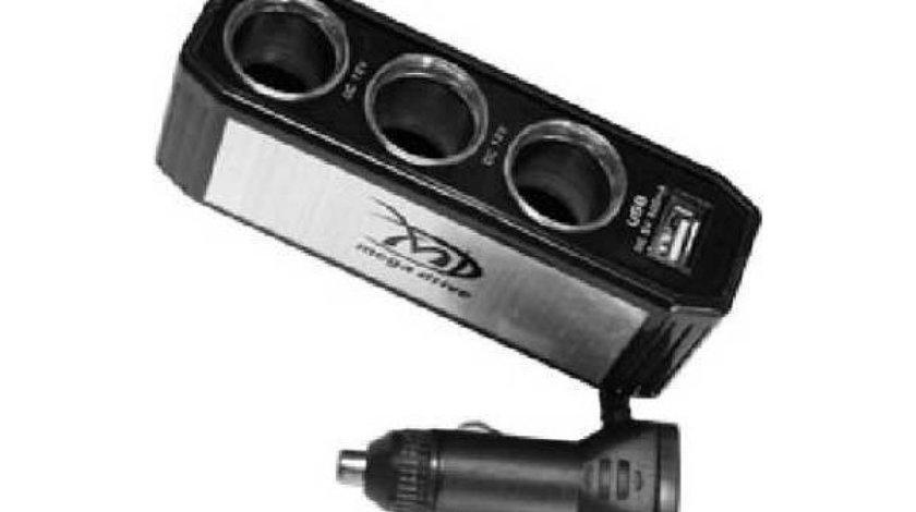 TRIPLU STECHER CU USB MEGA DRIVE 77018 <br>