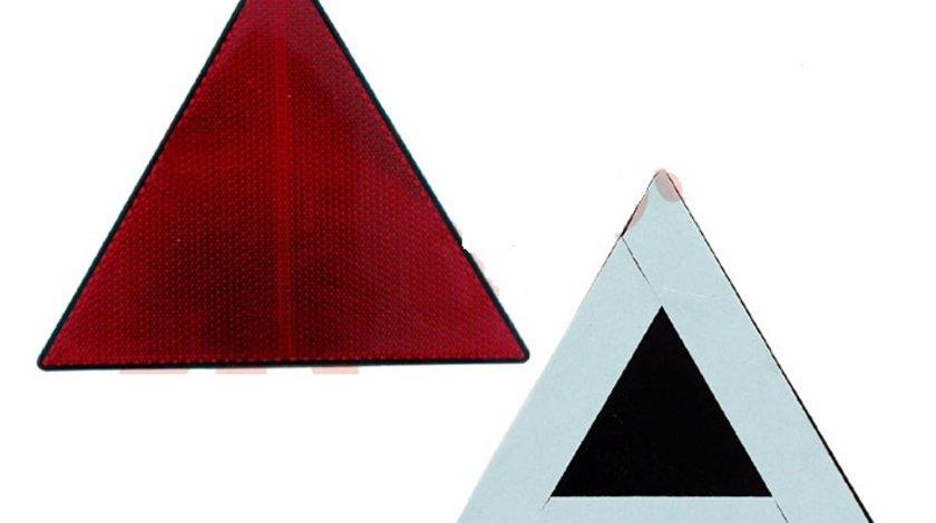 Triunghi reflectorizant BestAutoVest omologat ECE, H 140mm, fixare cu banda dublu adeziva, culoare rosu