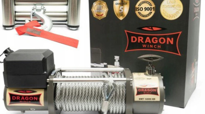 troliu electric Dragon Winch 14000lbs(trage 6360kg) la 24V + cadou