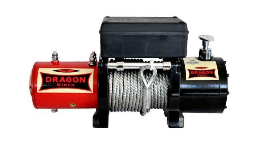 Troliu mai scurt DRAGON WINCH DWM 8000HD  (trage 3629 kg) la 12V+cadou