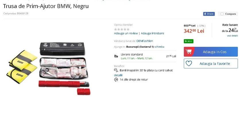 Trusa de prin ajutor BMW, Noua , Originala Sigilata (trusa+2 veste+triunghi reflectorizant) exp 2024