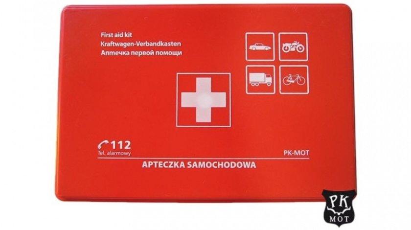 Trusa medicala auto de prim ajutor omologata EU , cu carcasa de plastic , import Polonia