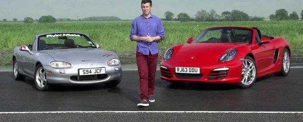 Tuning vs. Stock: Experimentul cu Mazda modificata si Porsche-le standard