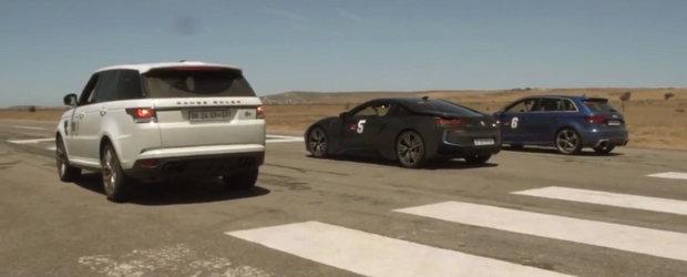 Turbo, V8 sau hibrid? Liniuta intre Audi RS3, Range Rover Sport SVR si BMW i8