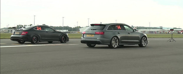 Turbo vs. Aspirat: Audi RS6 si Mercedes C63 Black isi dau intalnire la drag