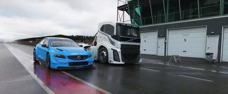Uite cum se termina cursa dintre camionul de 2.400 de cai de la Volvo si S60-ul Polestar TC1