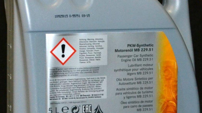 Ulei motor Mercedes 5W40 229.5 5Litri cod OE A0009898301 BAA4 Kft Auto