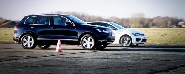 Un altfel de duel: VW Golf R si Touareg V8 TDI se intrec pe 402 metri