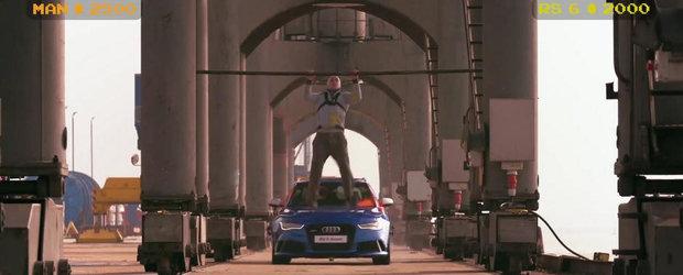 Un altfel de Gymkhana: Bataie cu oua intre Audi RS6 si un cascador profesionist
