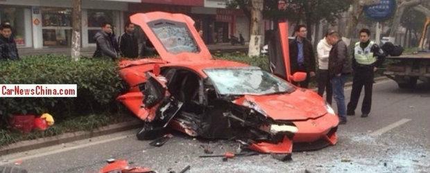 Un Aventador a fost facut bucati in China. Pagubele depasesc lejer 100.000 euro
