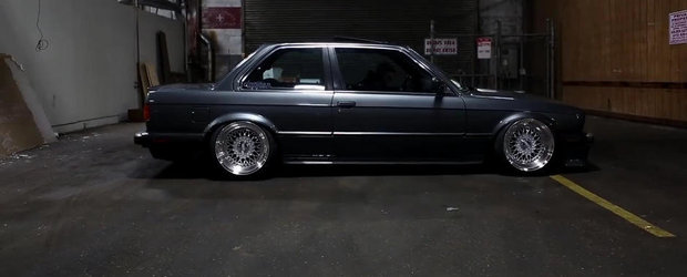 Un BMW E30 ca niciun altul, cu suspensie pe aer, jante BBS si... motor V8 LS1