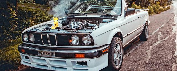 Un BMW E30 turbo se aprinde din senin. La peste 190 km/h!