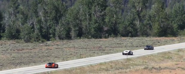 Un Bugatti Veyron alearga cu 400 km/h pe o sosea publica