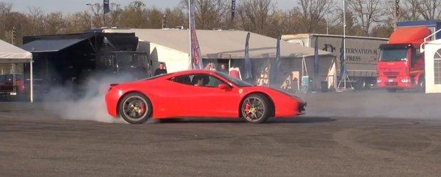 Un burnout de control cu Ferrari 458 Italia