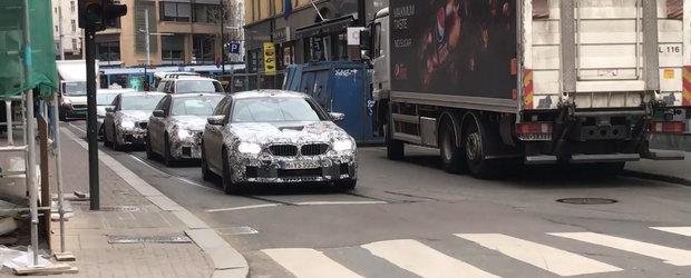 Un convoi de 1500+ CP: Trei BMW-uri M5 surprinse laolalta in teste, unul in spatele celuilalt