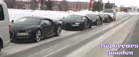 Un convoi de 6000 CP: Patru exemplare Bugatti Chiron surprinse laolalta, unul in spatele celuilalt