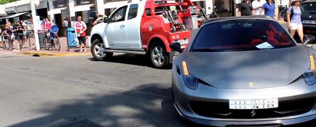 Un Ferrari 458 tunat e ridicat in Franta pentru parcare ilegala