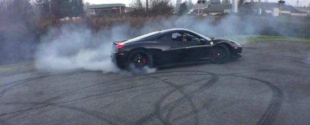 Un Ferrari distruge in cateva secunde un set de anvelope Pirelli