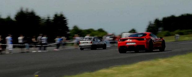 Un Kadett modificat se ia la intrecere cu un Ferrari, un Porsche si un R1