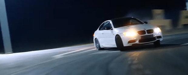 Un rus nebun alearga cu 300 in oras si face drifturi cu un BMW M3, chiar daca are martorul Check Engine aprins