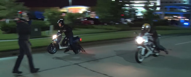 Un scuter chinezesc modificat participa la curse ilegale si face de rusine... cam pe toata lumea