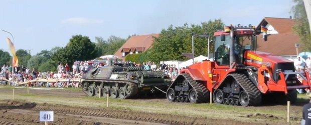 Un tanc si un tractor se trag reciproc: cine are mai multa forta de tractare?