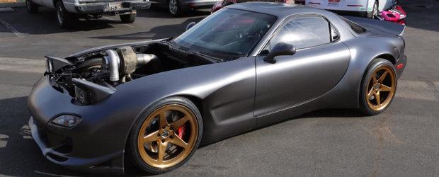 Un video pentru pasionati. Aceasta este unica Mazda RX-7 din lume cu 4 rotoare si tractiune integrala