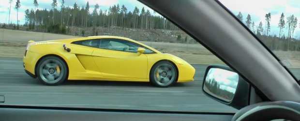 Un Volvo ii arata unui Lamborghini Gallardo cine este 'taticul'