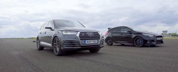Una are motor V8 diesel, cealalta... un benzinar cu patru cilindri. Liniuta intre Audi SQ7 si Ford Focus RS