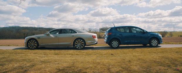 Una costa 8.000 de lire, cealalta... 220.000. Test comparativ intre Dacia Sandero si Bentley Flying Spur