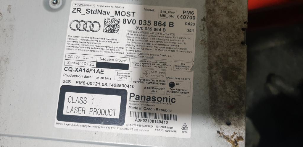 Unitate Multimedia Audi A3 8V 2015 cod 8V0035864B