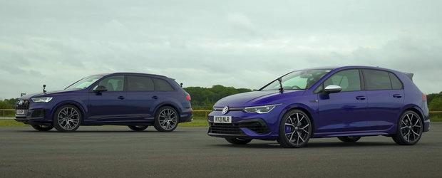 Unul are motor de doi litri, celalalt... de doua ori mai mare. Liniuta cu noul Volkswagen Golf R si Audi SQ7 TFSI