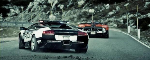Urmarire in Alpii Italieni: Pagani Zonda Cinque versus Lamborghini Murcielago LP640 de politie!