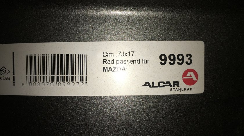 """Vând jante tablă Mazda 5x114,3-67 pe 17"""""""