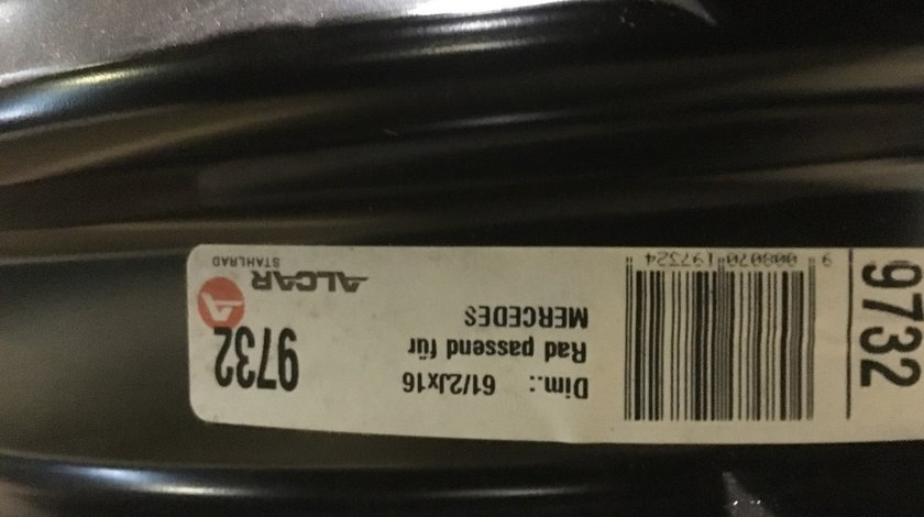 """Vând jante tablă Mercedes 5x112-66.6 pe 16"""""""