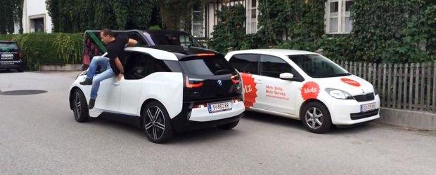 Vali Porcisteanu sare dintr-un BMW i3 si lasa masina sa se parcheze singura