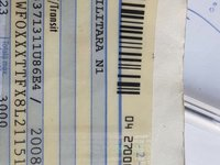 Vand acte si numere pentru Ford Transit an 2008 recarosare