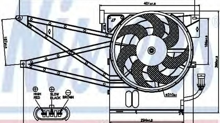 Ventilator,aer conditionat OPEL VECTRA B (36) (1995 - 2002) NISSENS 85017 produs NOU