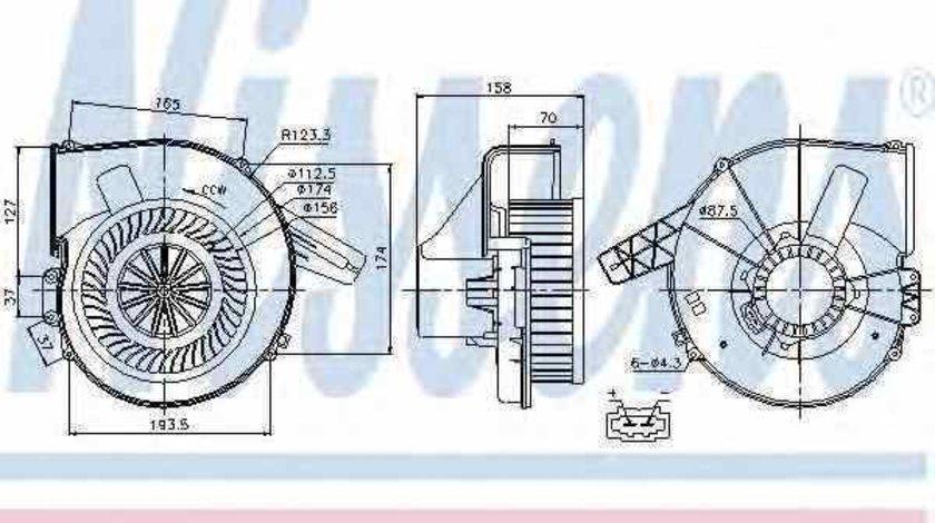 Ventilator aeroterma interior habitaclu AUDI A2 8Z0 Producator NISSENS 87028