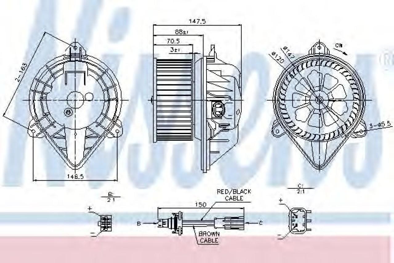 Ventilator, habitaclu NISSAN INTERSTAR bus (X70) (2002 - 2016) NISSENS 87024 produs NOU