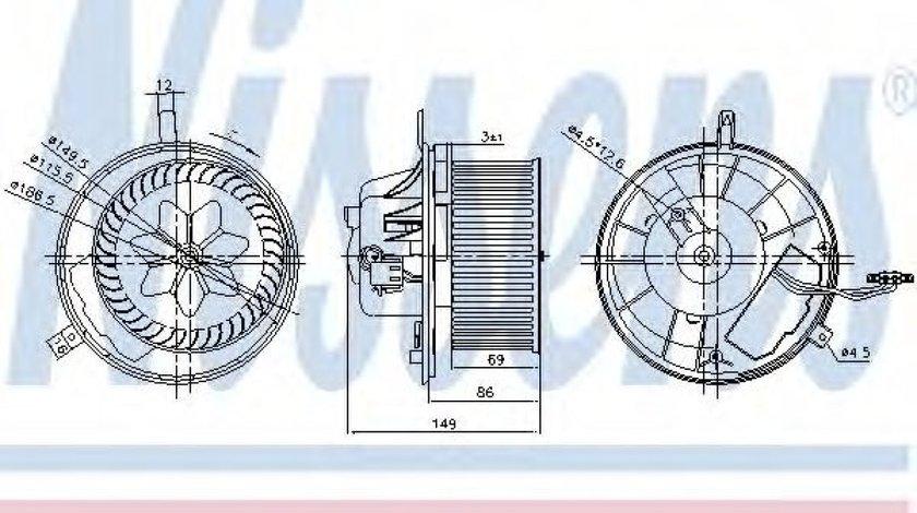 Ventilator, habitaclu VW TOURAN (1T1, 1T2) (2003 - 2010) NISSENS 87032 produs NOU