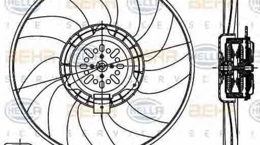 Ventilator radiator AUDI A4 8K2 B8 HELLA 8EW 351 044-361