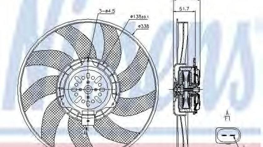 Ventilator, radiator AUDI A4 Allroad (8KH, B8) (2009 - 2016) NISSENS 85727 piesa NOUA