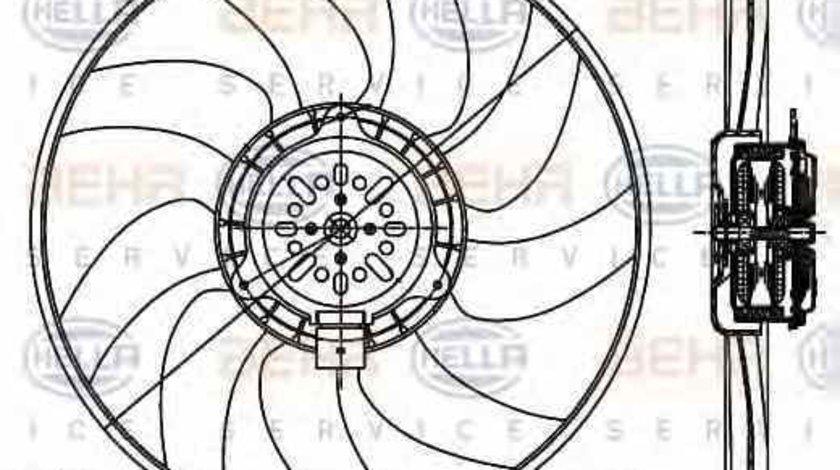 Ventilator radiator AUDI A4 Avant 8K5 B8 HELLA 8EW 351 044-351